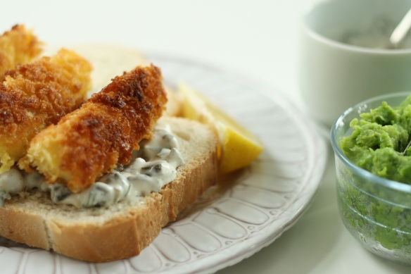 Fish Finger Sandwich with Tartare Sauce and Minted Mushy Peas