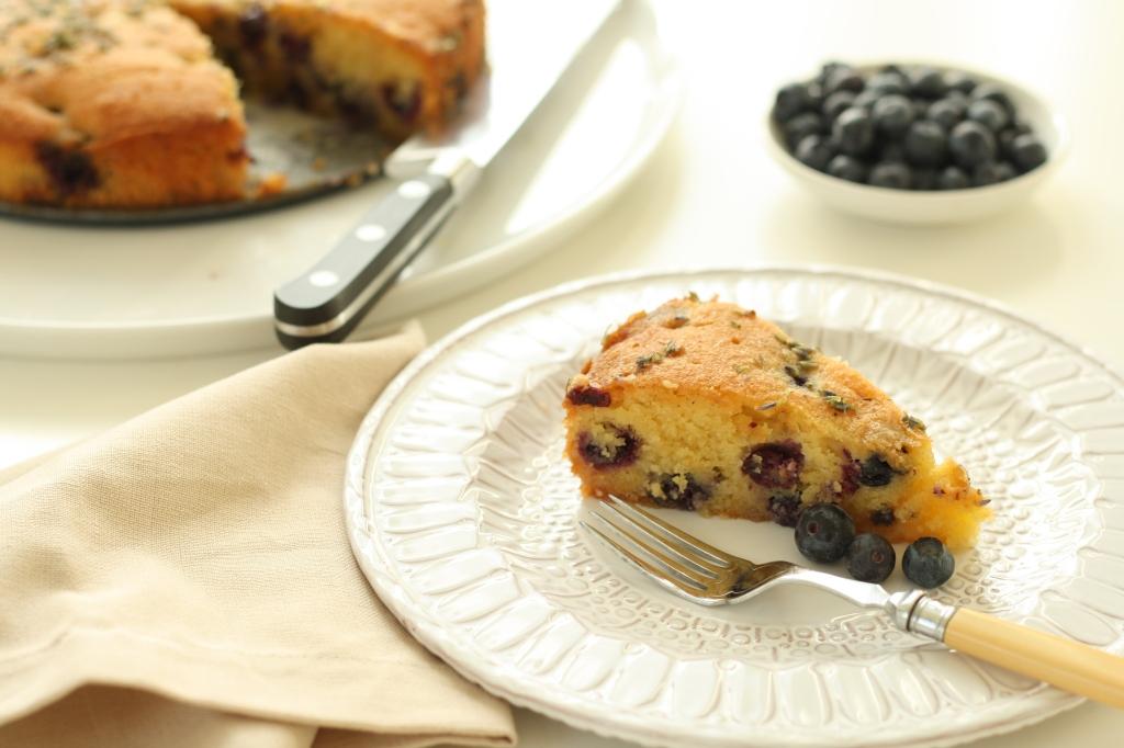 Gluten Free Blueberry Lavender Polenta Cake 1