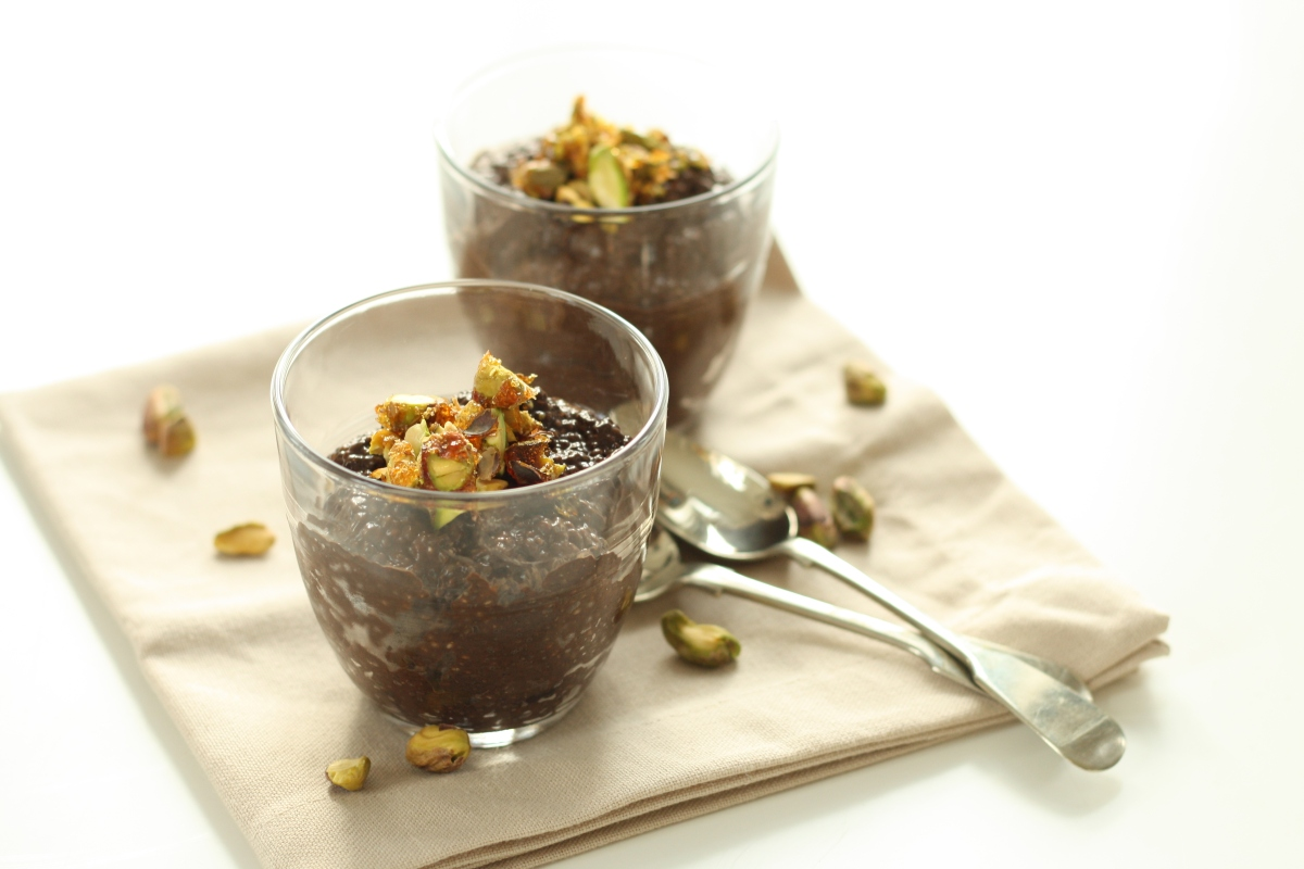 Chocolate Chia Seed Pudding with Pistachio Praline – Scaredy-Cat ...